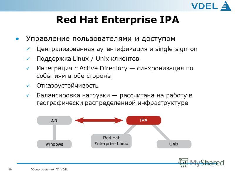 20 Обзор решений ГК VDEL Red Hat Enterprise IPA Управление пользователями и доступом Централизованная аутентификация и single-sign-on Поддержка Linux / Unix клиентов Интеграция с Active Directory синхронизация по событиям в обе стороны Отказоустойчив