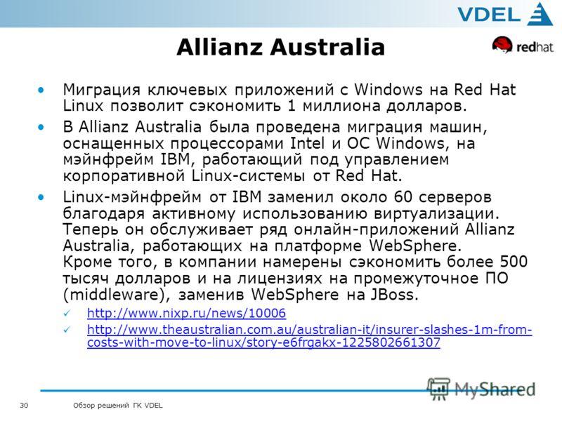 30 Обзор решений ГК VDEL Allianz Australia Миграция ключевых приложений с Windows на Red Hat Linux позволит сэкономить 1 миллиона долларов. В Allianz Australia была проведена миграция машин, оснащенных процессорами Intel и ОС Windows, на мэйнфрейм IB