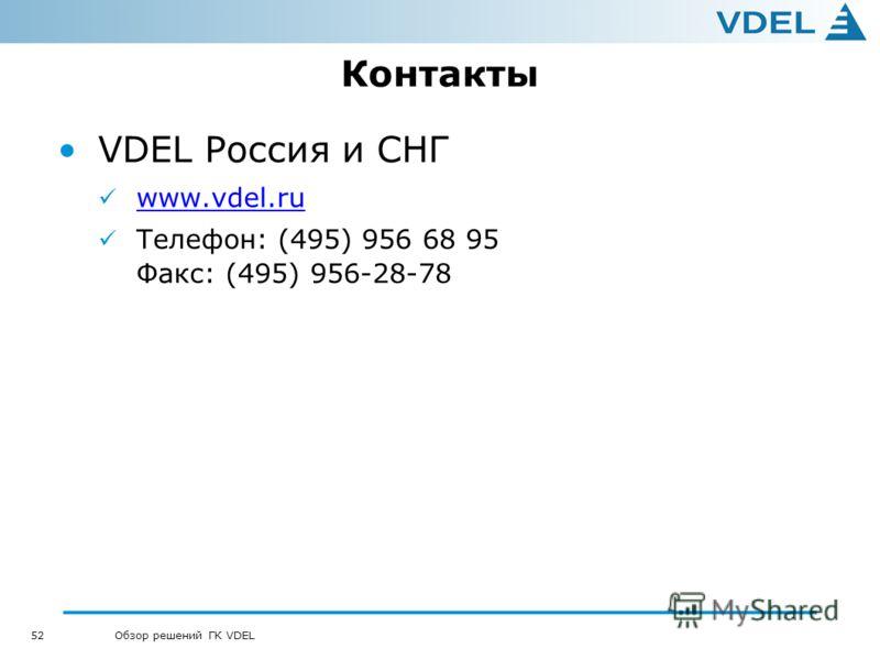 52 Обзор решений ГК VDEL Контакты VDEL Россия и СНГ www.vdel.ru Телефон: (495) 956 68 95 Факс: (495) 956-28-78