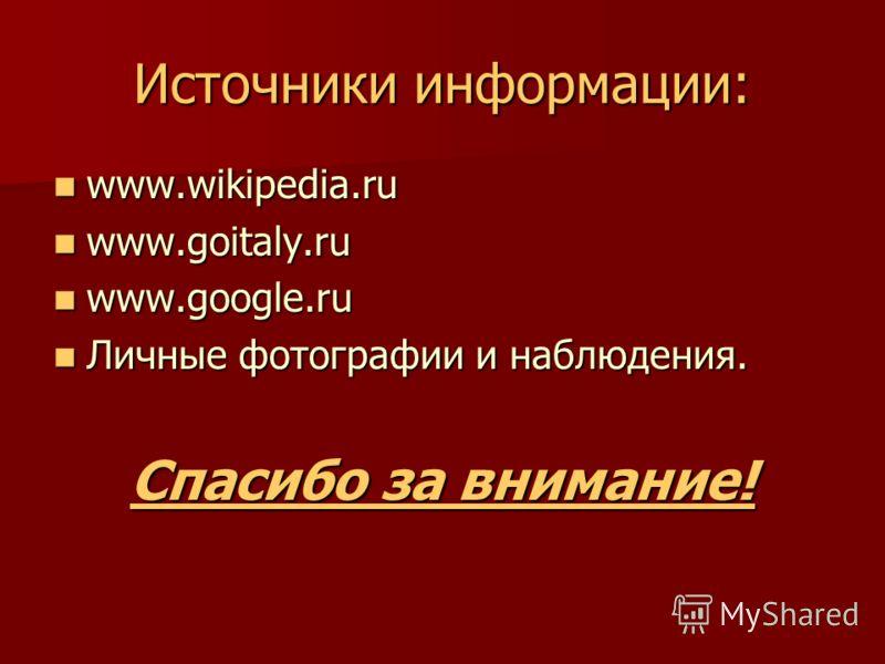 Источники информации: www.wikipedia.ru www.wikipedia.ru www.goitaly.ru www.goitaly.ru www.google.ru www.google.ru Личные фотографии и наблюдения. Личные фотографии и наблюдения. Спасибо за внимание!