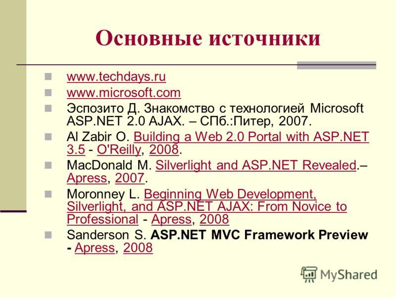 Основные источники www.techdays.ru www.microsoft.com Эспозито Д. Знакомство с технологией Microsoft ASP.NET 2.0 AJAX. – СПб.:Питер, 2007. Al Zabir O. Building a Web 2.0 Portal with ASP.NET 3.5 - O'Reilly, 2008.Building a Web 2.0 Portal with ASP.NET 3