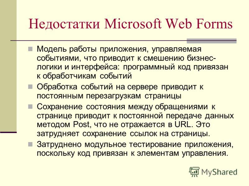 Недостатки Microsoft Web Forms Модель работы приложения, управляемая событиями, что приводит к смешению бизнес- логики и интерфейса: программный код привязан к обработчикам событий Обработка событий на сервере приводит к постоянным перезагрузкам стра