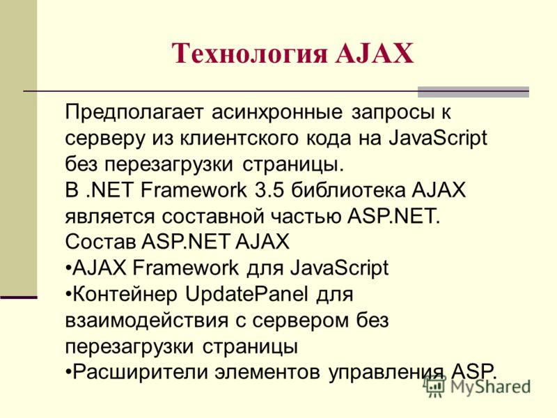 Технология AJAX Предполагает асинхронные запросы к серверу из клиентского кода на JavaScript без перезагрузки страницы. В.NET Framework 3.5 библиотека AJAX является составной частью ASP.NET. Состав ASP.NET AJAX AJAX Framework для JavaScript Контейнер