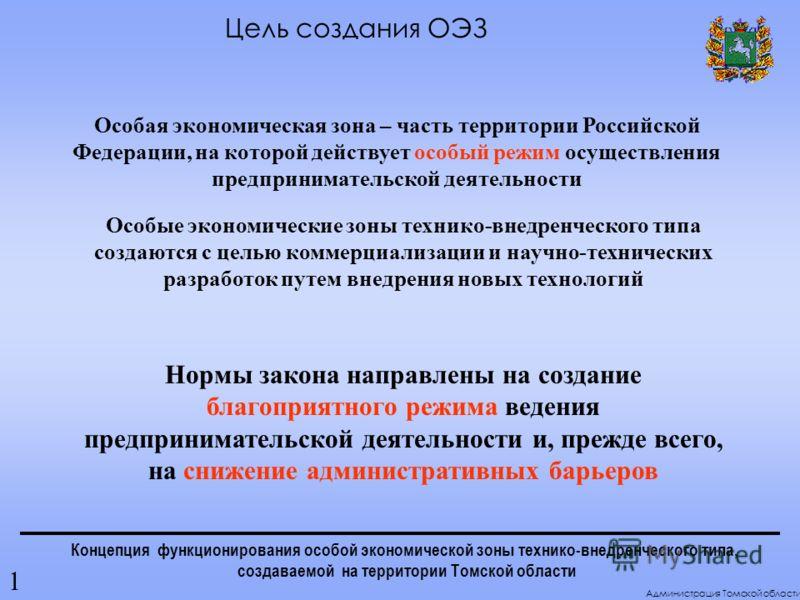 Концепция функционирования особой экономической зоны технико-внедренческого типа, создаваемой на территории Томской области Особая экономическая зона – часть территории Российской Федерации, на которой действует особый режим осуществления предпринима