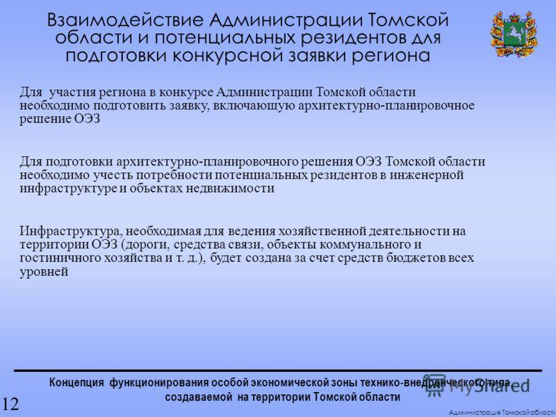 Концепция функционирования особой экономической зоны технико-внедренческого типа, создаваемой на территории Томской области Взаимодействие Администрации Томской области и потенциальных резидентов для подготовки конкурсной заявки региона 12 Администра