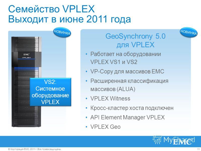 11© Корпорация EMC, 2011 г. Все права защищены. Семейство VPLEX Выходит в июне 2011 года Работает на оборудовании VPLEX VS1 и VS2 VP-Copy для массивов EMC Расширенная классификация массивов (ALUA) VPLEX Witness Кросс-кластер хоста подключен API Eleme