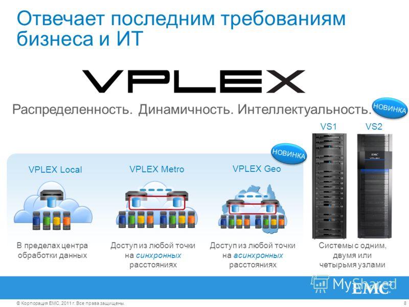 8© Корпорация EMC, 2011 г. Все права защищены. Отвечает последним требованиям бизнеса и ИТ Системы с одним, двумя или четырьмя узлами VS1VS2 Распределенность. Динамичность. Интеллектуальность. НОВИНКА В пределах центра обработки данных VPLEX Local VP