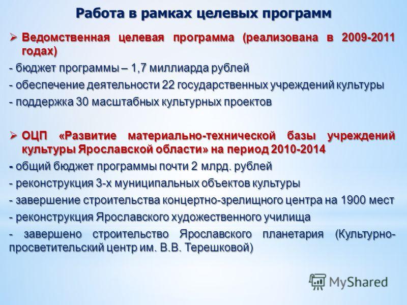 Работа в рамках целевых программ Ведомственная целевая программа (реализована в 2009-2011 годах) Ведомственная целевая программа (реализована в 2009-2011 годах) - бюджет программы – 1,7 миллиарда рублей - обеспечение деятельности 22 государственных у