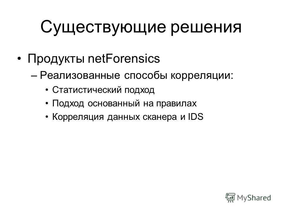 Существующие решения Продукты netForensics –Реализованные способы корреляции: Статистический подход Подход основанный на правилах Корреляция данных сканера и IDS