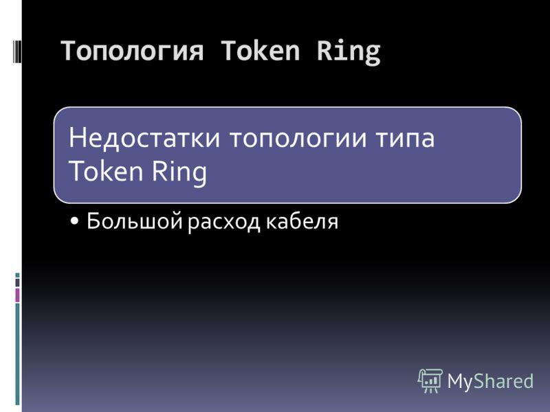 Недостатки топологии типа Token Ring Большой расход кабеля Топология Token Ring