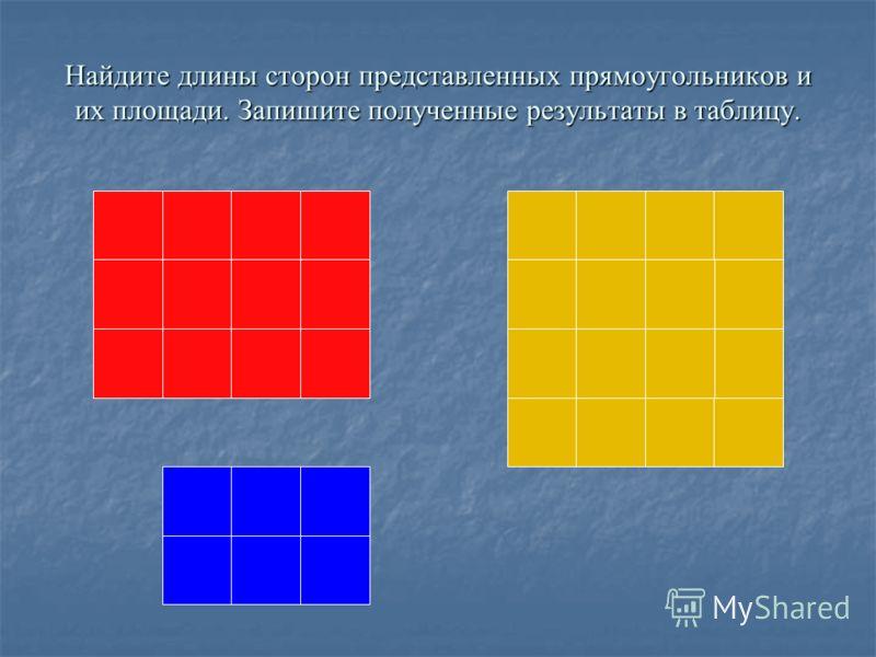 прямоуголь ника прямоуголь ника длина длина ширина ширинаплощадь 1 2 3 ab