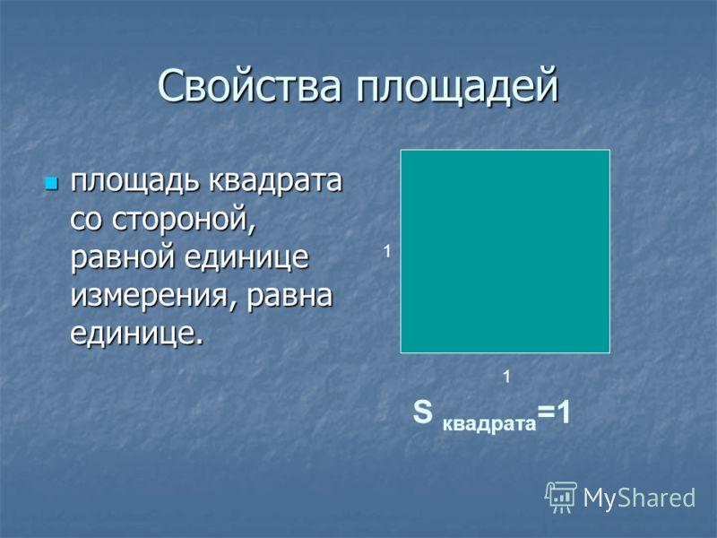 Свойства площадей если фигура разбита на конечное число простых фигур, то ее площадь равна сумме площадей этих простых фигур; если фигура разбита на конечное число простых фигур, то ее площадь равна сумме площадей этих простых фигур;