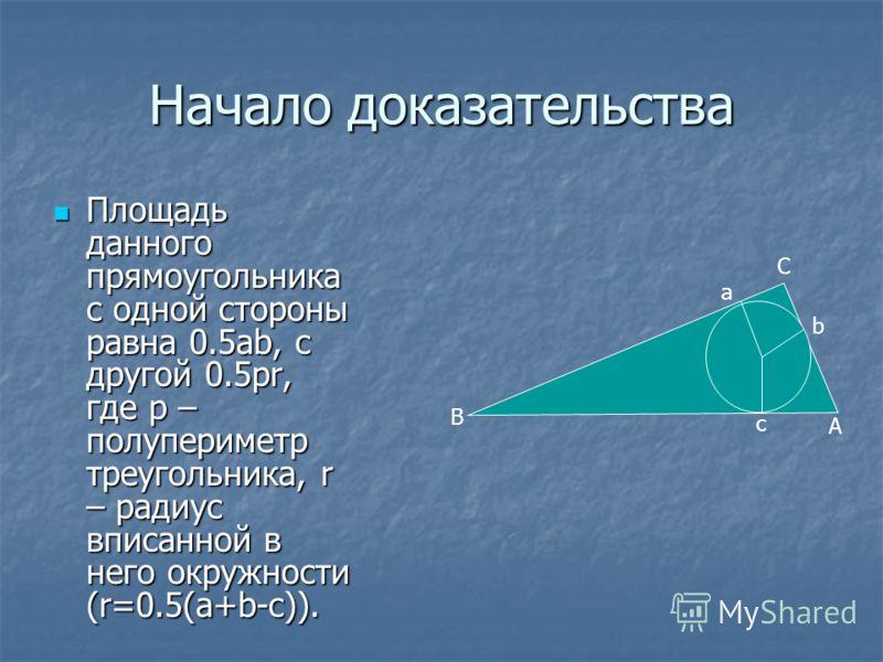 Что и требовалось доказать! Как Как мы видим, четырёхугольники ADFB и ACBE ACBE равновелики, т.к. ABF=ЕCB. ABF=ЕCB. Треугольники ADF и ACE ACE равновелики. Отнимем Отнимем от обоих равновеликих четырёхугольников общий для них треугольник ABC, получим