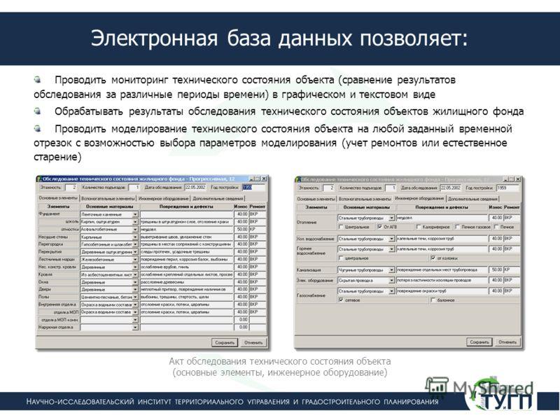 Электронная база данных позволяет: Проводить мониторинг технического состояния объекта (сравнение результатов обследования за различные периоды времени) в графическом и текстовом виде Обрабатывать результаты обследования технического состояния объект