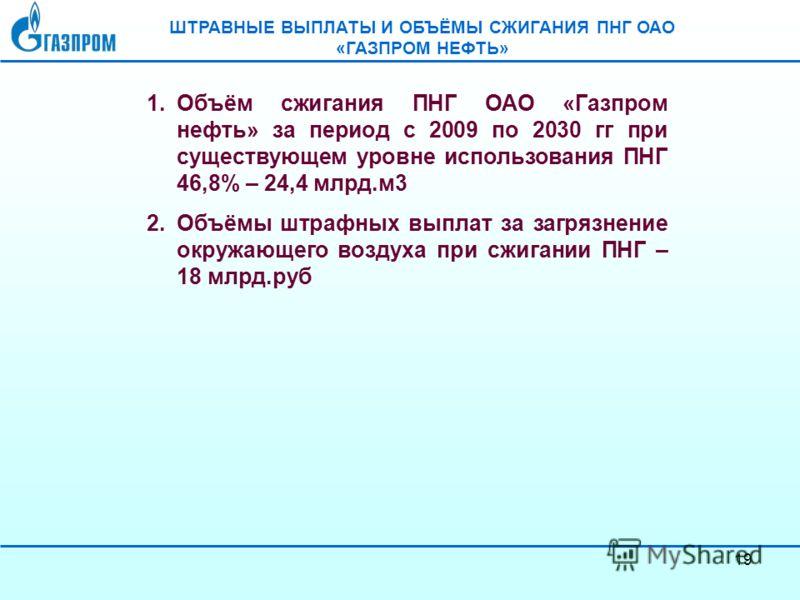 19 ШТРАВНЫЕ ВЫПЛАТЫ И ОБЪЁМЫ СЖИГАНИЯ ПНГ ОАО «ГАЗПРОМ НЕФТЬ» 1.Объём сжигания ПНГ ОАО «Газпром нефть» за период с 2009 по 2030 гг при существующем уровне использования ПНГ 46,8% – 24,4 млрд.м3 2.Объёмы штрафных выплат за загрязнение окружающего возд