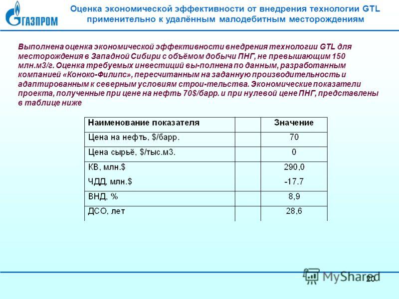 20 Оценка экономической эффективности от внедрения технологии GTL применительно к удалённым малодебитным месторождениям Выполнена оценка экономической эффективности внедрения технологии GTL для месторождения в Западной Сибири с объёмом добычи ПНГ, не