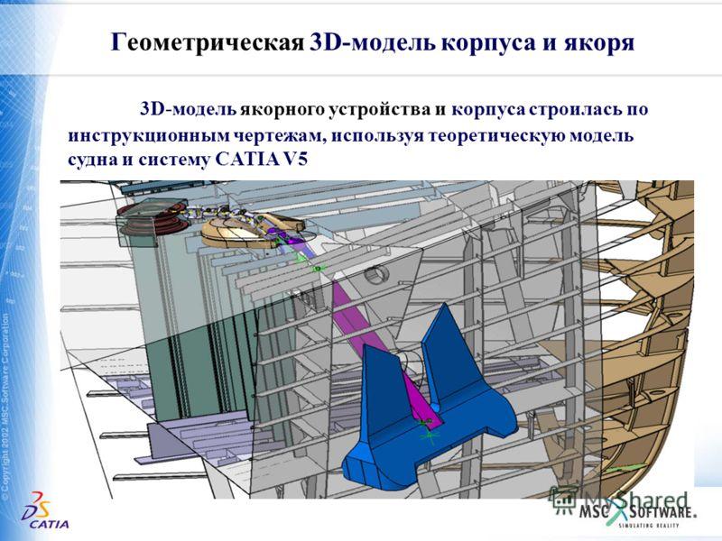 Геометрическая 3D-модель корпуса и якоря 3D-модель якорного устройства и корпуса строилась по инструкционным чертежам, используя теоретическую модель судна и систему CATIA V5