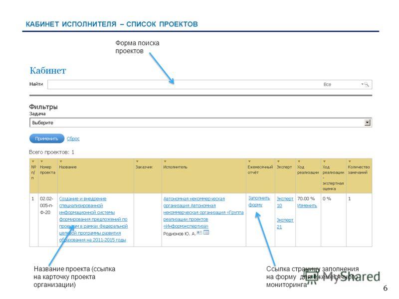 6 КАБИНЕТ ИСПОЛНИТЕЛЯ – СПИСОК ПРОЕКТОВ Форма поиска проектов Название проекта (ссылка на карточку проекта организации) Ссылка страницу заполнения на форму для ежемесячного мониторинга