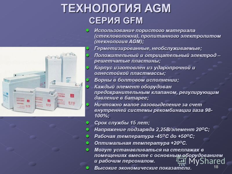18 ТЕХНОЛОГИЯ AGM СЕРИЯ GFM ТЕХНОЛОГИЯ AGM СЕРИЯ GFM Использование пористого материала (стекловолокна), пропитанного электролитом (технология AGM); Использование пористого материала (стекловолокна), пропитанного электролитом (технология AGM); Гермети