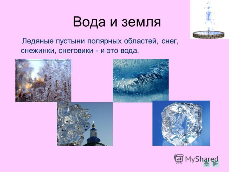 Вода и земля Ледяные пустыни полярных областей, снег, снежинки, снеговики - и это вода.