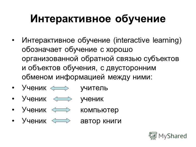 Интерактивное обучение Интерактивное обучение (interactive learning) обозначает обучение с хорошо организованной обратной связью субъектов и объектов обучения, с двусторонним обменом информацией между ними: Ученик учитель Ученик ученик Ученик компьют