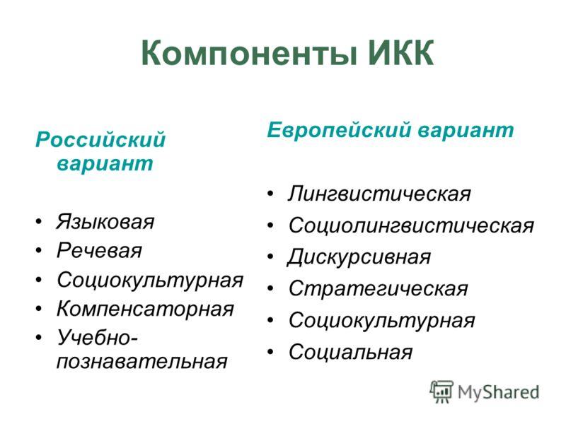 Компоненты ИКК Российский вариант Языковая Речевая Социокультурная Компенсаторная Учебно- познавательная Европейский вариант Лингвистическая Социолингвистическая Дискурсивная Стратегическая Социокультурная Социальная