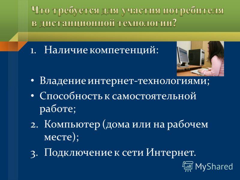 1.Наличие компетенций: Владение интернет-технологиями; Способность к самостоятельной работе; 2.Компьютер (дома или на рабочем месте); 3.Подключение к сети Интернет.