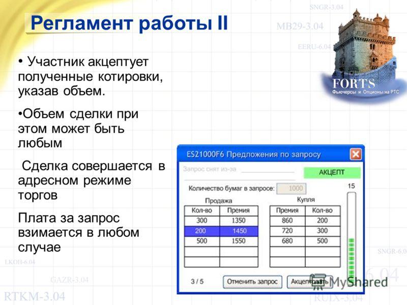 Регламент работы II Участник акцептует полученные котировки, указав объем. Объем сделки при этом может быть любым Сделка совершается в адресном режиме торгов Плата за запрос взимается в любом случае