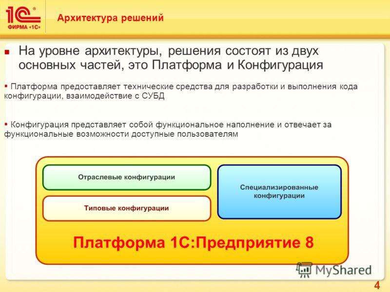 4 На уровне архитектуры, решения состоят из двух основных частей, это Платформа и Конфигурация Платформа предоставляет технические средства для разработки и выполнения кода конфигурации, взаимодействие с СУБД Конфигурация представляет собой функциона