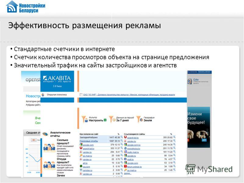 Эффективность размещения рекламы Стандартные счетчики в интернете Счетчик количества просмотров объекта на странице предложения Значительный трафик на сайты застройщиков и агентств