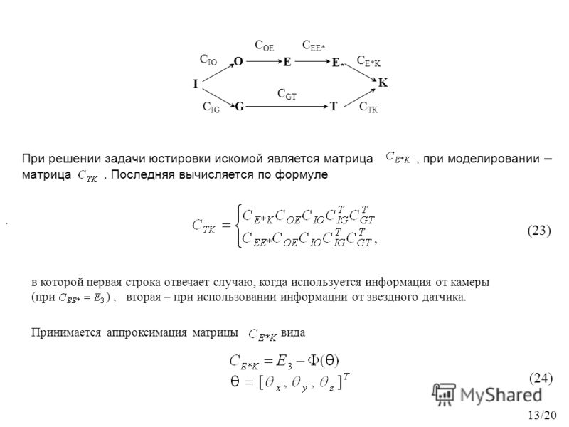 K С OE C EE* С IG СTКСTК I T O E G С GT С E*K С IO E*E* При решении задачи юстировки искомой является матрица, при моделировании – матрица. Последняя вычисляется по формуле в которой первая строка отвечает случаю, когда используется информация от кам