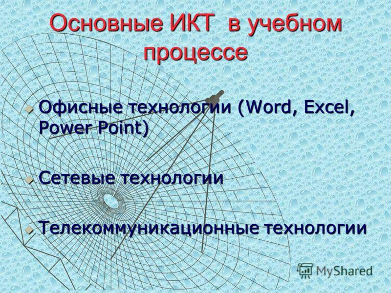 Основные ИКТ в учебном процессе Офисные технологии (Word, Excel, Power Point) Офисные технологии (Word, Excel, Power Point) Сетевые технологии Сетевые технологии Телекоммуникационные технологии Телекоммуникационные технологии