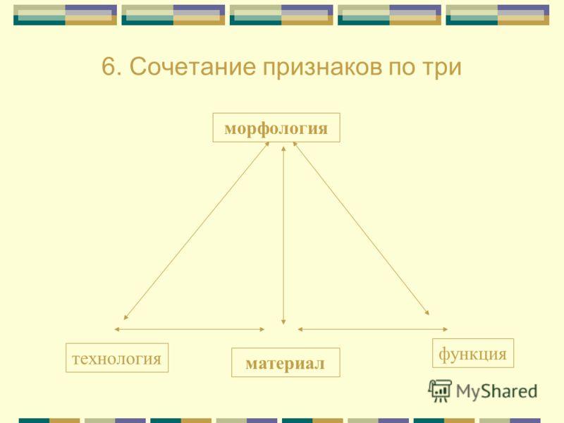 6. Сочетание признаков по три морфология материал технология функция