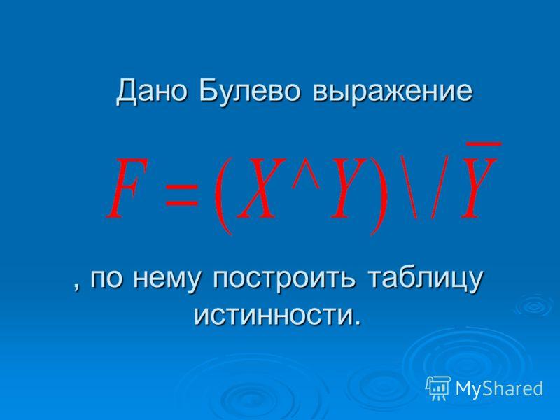 Построение таблицы истинности по Булеву выражению. Дано Булево выражение F=(X1\/X2)^(X1\/X3),по нему построить таблицу истинности. Дано Булево выражение F=(X1\/X2)^(X1\/X3),по нему построить таблицу истинности. X1X2X3X1\/X2X1\/X3(X1\/X2)^(X1\/X3) 000