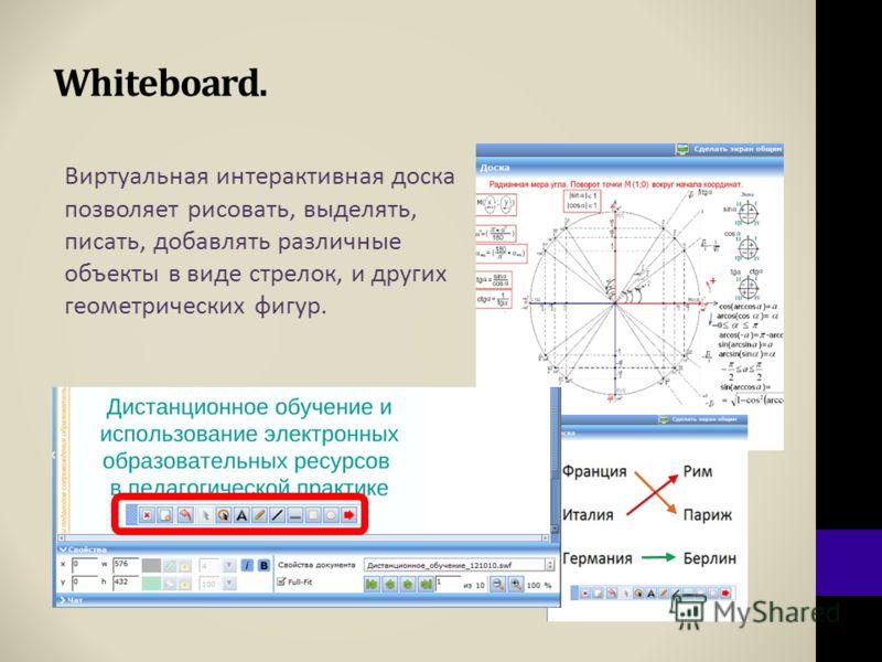 Whiteboard. Виртуальная интерактивная доска позволяет рисовать, выделять, писать, добавлять различные объекты в виде стрелок, и других геометрических фигур.