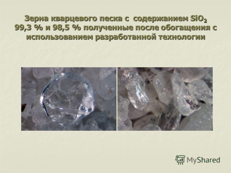 Зерна кварцевого песка с содержанием SiO 2 99,3 % и 98,5 % полученные после обогащения с использованием разработанной технологии