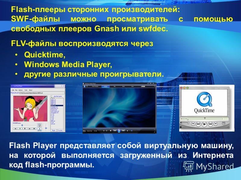 Flash-плееры сторонних производителей: Quicktime, Windows Media Player, другие различные проигрыватели. FLV-файлы воспроизводятся через SWF-файлы можно просматривать с помощью свободных плееров Gnash или swfdec. Flash Player представляет собой виртуа