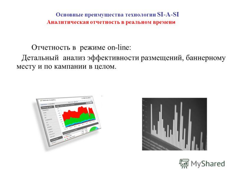 Основные преимущества технологии SI-A-SI Отчетность в режиме on-line: Детальный анализ эффективности размещений, баннерному месту и по кампании в целом. Аналитическая отчетность в реальном времен и