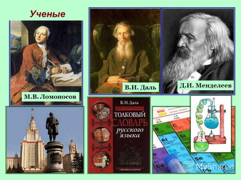 20 Ученые Д.И. Менделеев В.И. Даль М.В. Ломоносов