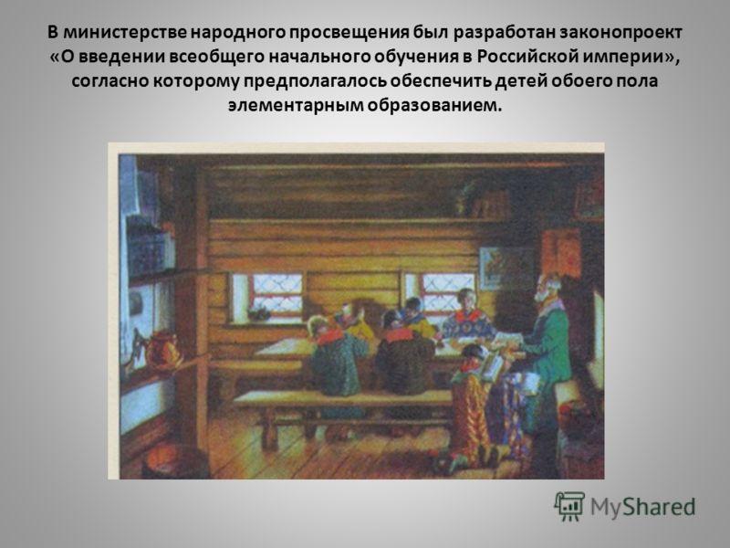 В министерстве народного просвещения был разработан законопроект «О введении всеобщего начального обучения в Российской империи», согласно которому предполагалось обеспечить детей обоего пола элементарным образованием.
