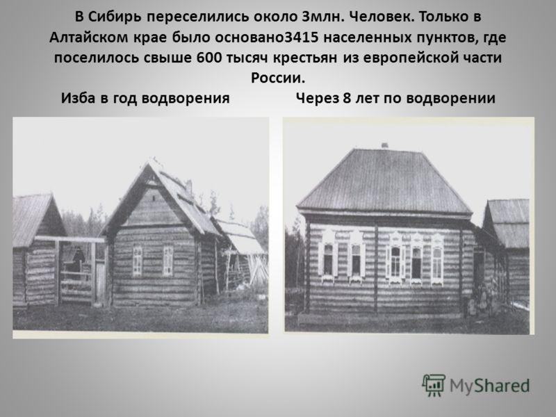 В Сибирь переселились около 3млн. Человек. Только в Алтайском крае было основано3415 населенных пунктов, где поселилось свыше 600 тысяч крестьян из европейской части России. Изба в год водворения Через 8 лет по водворении