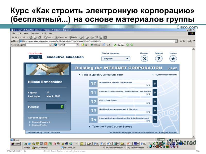 15 © 2001, Cisco Systems, Inc. All rights reserved. Presentation_ID Что такое Базовые (Core) и Контекстуальные (Context) компетенции Любая деятельность, которая в случае плохого исполнения немедленно создаст риск для компании Аутсорсинг / контроль Лю