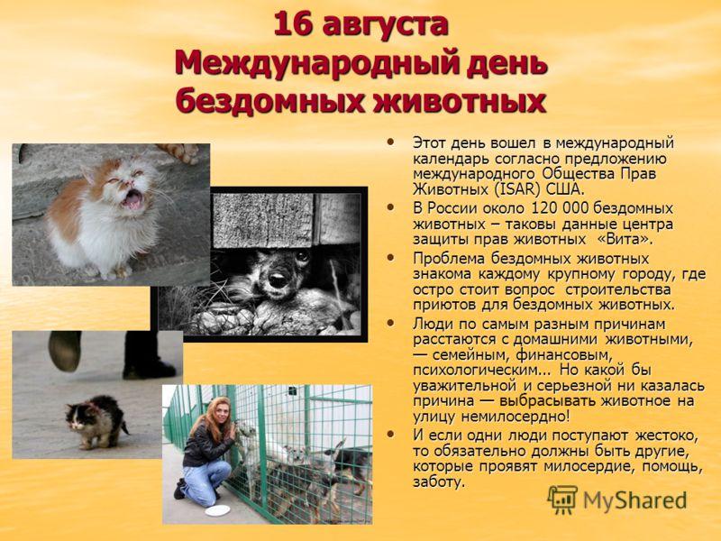16 августа Международный день бездомных животных Этот день вошел в международный календарь согласно предложению международного Общества Прав Животных (ISAR) США. Этот день вошел в международный календарь согласно предложению международного Общества П