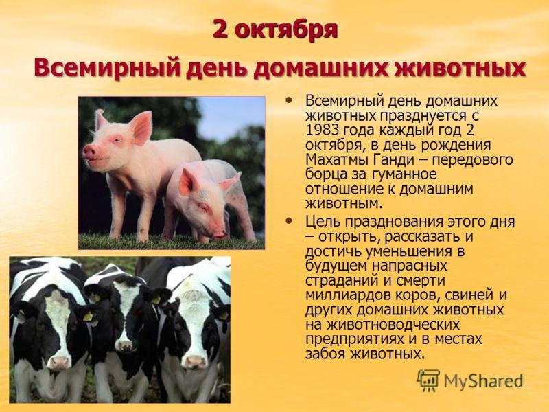 2 октября Всемирный день домашних животных Всемирный день домашних животных празднуется с 1983 года каждый год 2 октября, в день рождения Махатмы Ганди – передового борца за гуманное отношение к домашним животным. Цель празднования этого дня – открыт