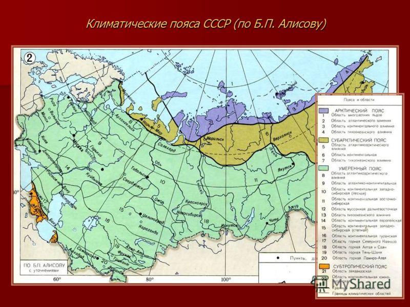 Климатические пояса СССР (по Б.П. Алисову)