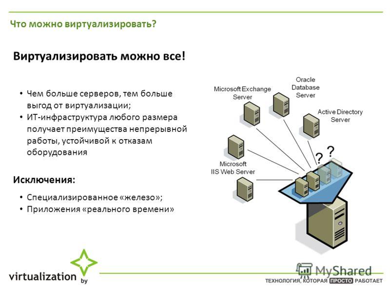 Что можно виртуализировать? Виртуализировать можно все! Чем больше серверов, тем больше выгод от виртуализации; ИТ-инфраструктура любого размера получает преимущества непрерывной работы, устойчивой к отказам оборудования Исключения: Специализированно
