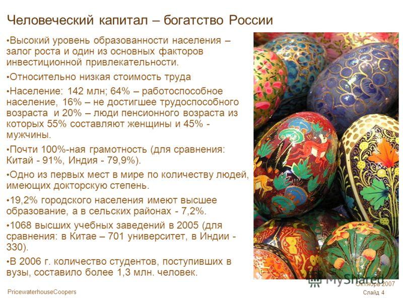 PricewaterhouseCoopers Октябрь 2007 Слайд 4 Человеческий капитал – богатство России Высокий уровень образованности населения – залог роста и один из основных факторов инвестиционной привлекательности. Относительно низкая стоимость труда Население: 14