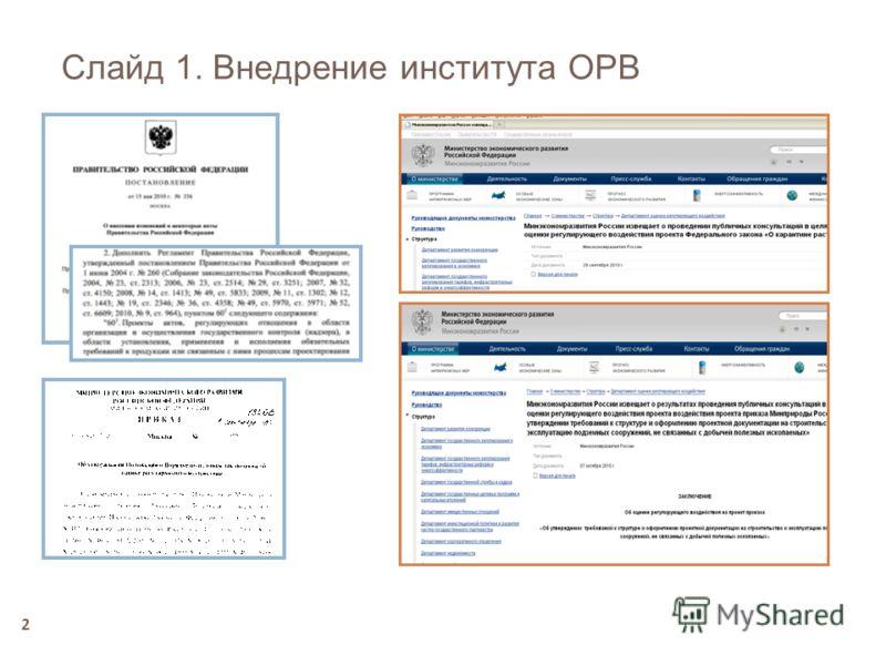 2 Слайд 1. Внедрение института ОРВ