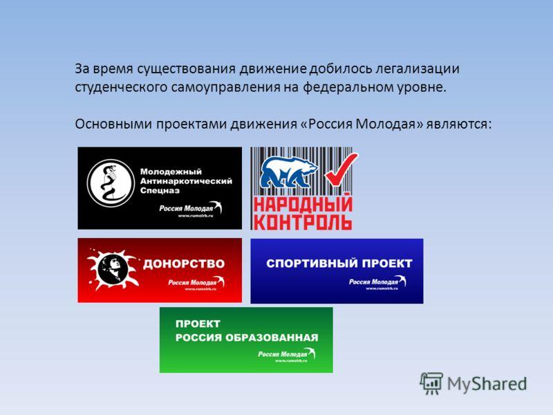 За время существования движение добилось легализации студенческого самоуправления на федеральном уровне. Основными проектами движения «Россия Молодая» являются: