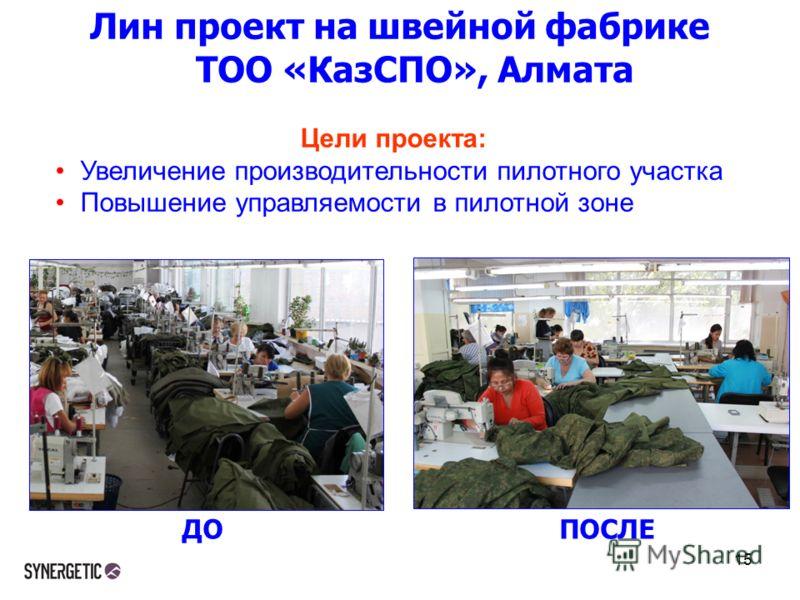 Лин проект на швейной фабрике ТОО «КазСПО», Алмата 15 ДОПОСЛЕ Цели проекта: Увеличение производительности пилотного участка Повышение управляемости в пилотной зоне